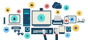 Vector en línea de Internet de la tecnología y de las compras social del concepto Foto de archivo libre de regalías
