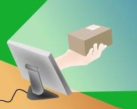 Vector en línea de la salida de las compras