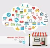 Vector en línea de las compras - iconos de la tienda en línea Foto de archivo