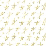 Vector endless seamless space pattern of gold stars hand painted on a white background for Christmas and new year holidays in fest. Vector endless seamless space Stock Photos