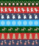Vector endless striped christmas pattern with cute Santa Claus, polar bears, snowmen, snowflakes, reindeer, christmas trees. Vector endless striped christmas Stock Photos