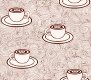 Vector endless texture with coffee cups and figured lines. You can use it for coffee shop or cafe design Stock Photo