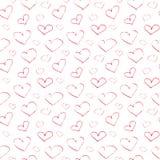 Vector endloses nahtloses Muster der roten Herzen der Tinte, die auf einem weißen Hintergrund handgemalt sind Stockfotos