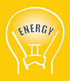 Vector energy. An illustration of a glass light bulb on yellow background Royalty Free Stock Photo
