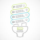 Vector energy efficient light bulb eco linear infographic. Ecology diagram, graph, presentation, chart. Organic nature. Layout for your options or steps Stock Image