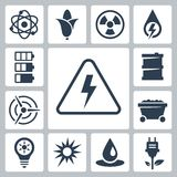 Vector energy icons set Royalty Free Stock Photography