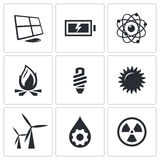 Vector energy icons set Royalty Free Stock Photo