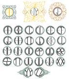 Vector Engelse doopvont met monogram Royalty-vrije Stock Afbeeldingen