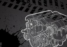 Vector engine. Vectro illustration of a engine on dark background Stock Photos
