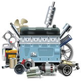 Vector Engine with Car Spares Stock Photos