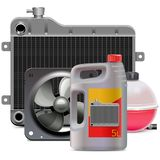 Vector Engine Cooling System Parts with Antifreeze vector illustration