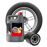 Vector Engine Oil with Oil Filter and Tire. On white background Royalty Free Stock Images