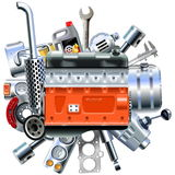 Vector Engine with Truck Spares Stock Photos