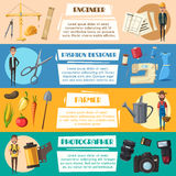 Vector engineer, farmer, photographer and designer. Engineer, farmer, fashion designer and photographer professions banners. Vector work tools camera flash and Stock Images