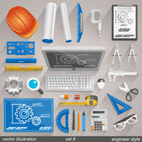 Vector engineer style. set 8. Illustration art Stock Image