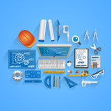 Vector engineer style. Vector engineer tools style. illustration art icon Stock Photos