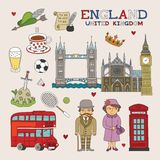 Vector England Doodle Art for Travel and Tourism Royalty Free Stock Photos