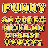 Vector english alphabet in cartoon style. Vector illustration of funny cartoon font for design Royalty Free Stock Photography