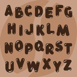 Vector English alphabet, drawn in chocolate and coffee style. Abc stock illustration