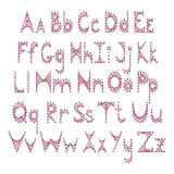 Vector English alphabet embroidered on cardboard Royalty Free Stock Photography