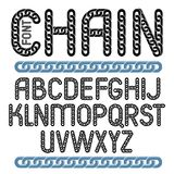 Vector English alphabet letters collection. Capital creative fon. T made with iron chain, linked connection Stock Image