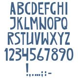 Vector English latin alphabet. Letters, numbers, symbols. Isolat Royalty Free Stock Images