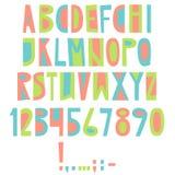 Vector English latin alphabet. Letters, numbers, symbols. Isolat Royalty Free Stock Photos