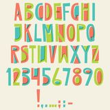 Vector English latin alphabet. Letters, numbers, symbols. Isolat. Es font, comic cartoon style Colorful Stock Image