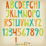 Vector English latin alphabet. Letters, numbers, symbols. Isolat. Es font, comic cartoon style Colorful Stock Photo