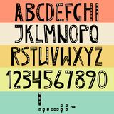Vector English latin alphabet. Letters, numbers, symbols. Isolat. Es font, comic cartoon style. Decoration ornate letters Stock Image