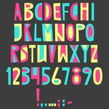 Vector English latin alphabet. Letters, numbers, symbols. Isolat. Es font, comic cartoon style Colorful Stock Photography