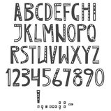 Vector English latin alphabet. Letters, numbers, symbols.   Stock Images