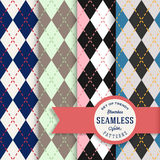 Vector English Rhombus Seamless Pattern Set Royalty Free Stock Image