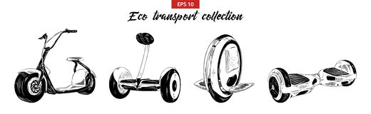 Hand drawn sketch set of electric scooter, gyroboard, gyroscooter and mono-wheel isolated on white background. Detailed vintage et vector illustration