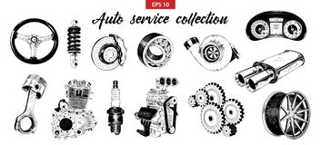 Vector Engraved Style Illustration For Posters, Decoration. Hand Drawn Sketch Set Of Auto Or Car Service Elements Stock Photography