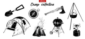 Hand drawn sketch set of camping elements isolated on white background. vector illustration