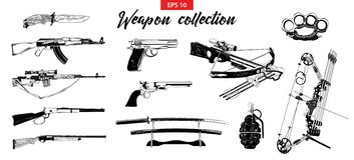 Vector engraved style illustration for logo, emblem, label or poster. Hand drawn sketch set of different weapons vector illustration
