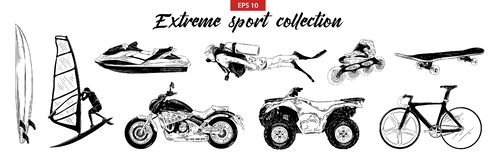 Hand drawn engraved sketch set of extreme sports isolated on white background. vector illustration