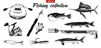 Vector engraved style illustration for logo, emblem, label or poster. Hand drawn sketch set of fishing elements isolated on white vector illustration