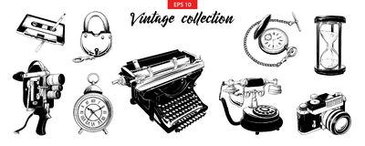 Hand drawn engraved sketch set of vintage odjects isolated on white background. Detailed vintage doodle drawing royalty free illustration