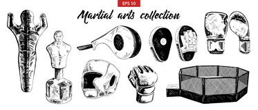 Hand drawn sketch of mixed martial arts and boxing set isolated on white background. Detailed vintage etching drawing. royalty free illustration