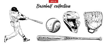 Hand drawn sketch set of baseball player, helmet, glove, ball and bat isolated on white background. Detailed vintage etching drawi vector illustration