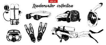 Hand drawn sketch of scuba diving, underwater and snorkeling set isolated on white background. Detailed vintage etching drawing. royalty free illustration