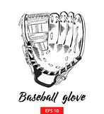 Hand drawn sketch of baseball glove in black isolated on white background. Detailed vintage etching style drawing. vector illustration