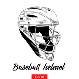 Hand drawn sketch of baseball helmet in black isolated on white background. Detailed vintage etching style drawing. stock illustration
