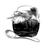 Hand drawn sketch of honey jar with wooden spoon in black isolated on white background. Detailed vintage etching style drawing. royalty free illustration