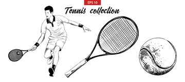 Hand drawn sketch set of tennis player, tennis racket and ball isolated on white background. Detailed vintage etching drawing. royalty free illustration