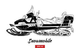 Hand drawn sketch of snowmobile in black isolated on white background. Detailed vintage etching style drawing. vector illustration
