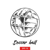Hand drawn sketch of soccer ball in black isolated on white background. Detailed vintage etching style drawing. stock illustration