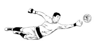 Hand drawn sketch of soccer player goalkeeper in black isolated on white background. Detailed vintage etching style drawing. stock illustration